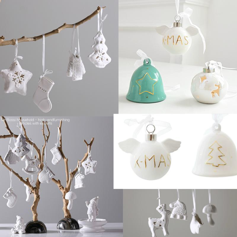 White Ceramic Bell Home Decorations For Christmas Tree Hanging Ornament Cute Childrens Toy Gift New Year Birthday Party Wedding T200624