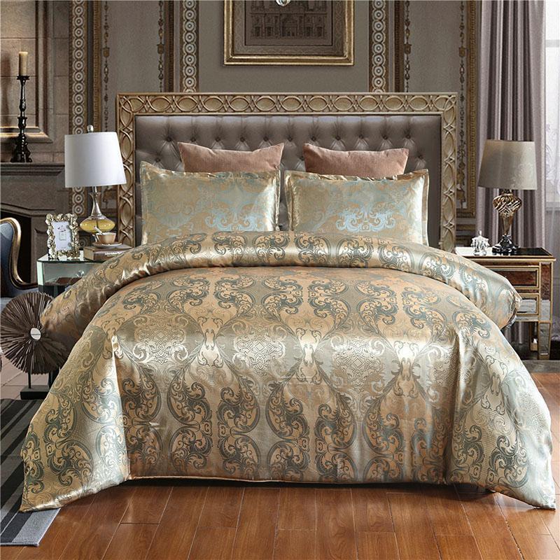 أغطية فاخرة من الساتان غطاء لحاف الفراش مجموعة الجاكار المخدة الملكة الملك الحجم الزفاف فرش السرير لا ملء دروبشيبينغ