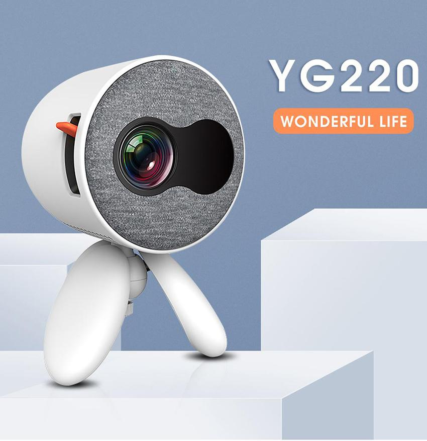 Home Theater YG220 Mini Projector 480*272 Pixels Supports 1080P HDMI USB Portable Cute Projector Video Player adjustable head for Kids Gift