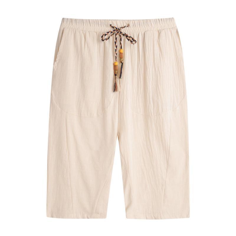 Novità estate casuale Pantaloni a uomini uomo Fashion Style Vita elastica traspirante Bermuda Pantaloni Uomo Lino 5XL