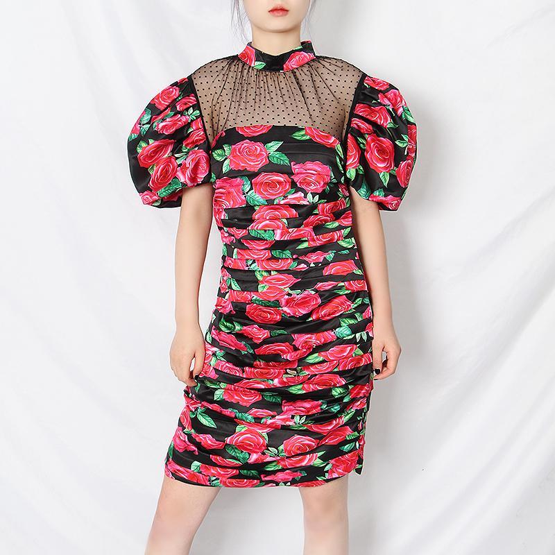 Kılıf Kırmızı Seksi Backless Patchwork Mesh Kadın Elbise Standı Yaka Puff Kol Yüksek Bel 2020 Dantelli Elbiseler Kadın Yeni Baskı