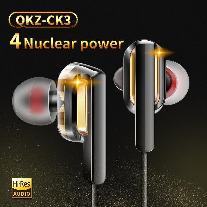 Alambre auriculares auriculares NUEVO CK3 en auriculares de control de cable doble bobina que actúe con soporte de auricular MIC HIFI 2PCS entrega