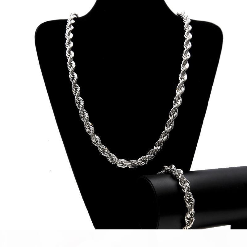 Mens Hip Hop Gold Twist цепи ожерелье Мода Золото Серебро Twist цепи ожерелье браслет комплект ювелирных изделий