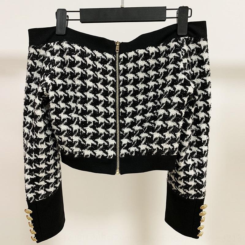 2020 chaqueta Boutique chaqueta corta de seda nuevo clásico de la cremallera del collar brillante lionback tweed superior corto