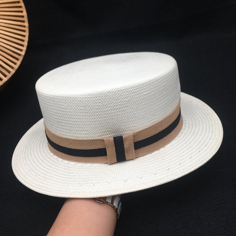 Mujer japonesa literaria techo de hierba bromista de la manera del verano se previene toman el sol en blanco paja sombrero para el sol para hombre y mujer de Fedora