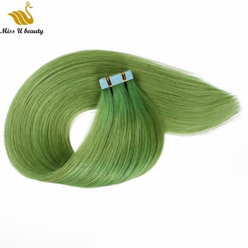 İnsan Saç Uzantıları Mavi Kırmızı Yeşil Pembe Renkli Saç Kütikül Bağlantısızlar Yüksek Kalite 40pcs içinde 613 Sarışın PU Saç Cilt Atkı Bant