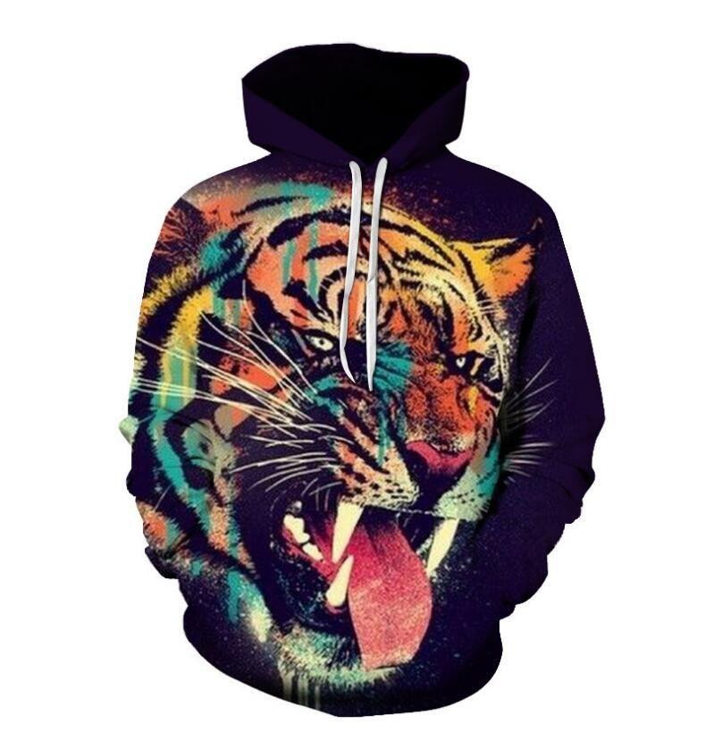 Erkek Giyim Homme Kapşonlu Sweatshirt Erkek Kadın Tasarımcı Kapüşonlular High Street Tiger Başkanı Kapüşonlular Kazak Kış Sweatshirt baskılı