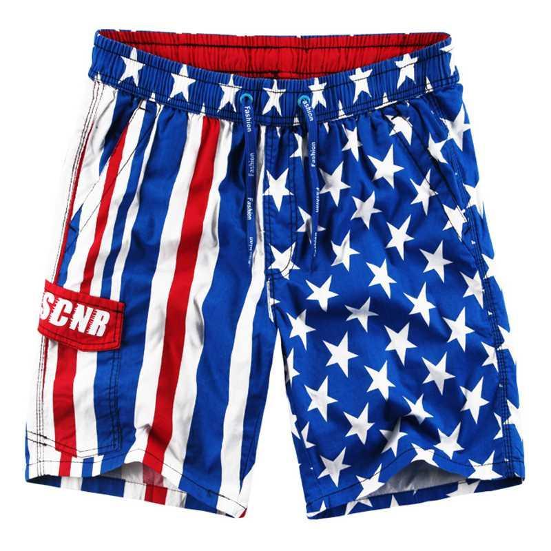2020 New Shorts Men Cotton Strand Shorts American Flag Printed Sportswear-Sommer-Männer Short Dunkelblau / Hellblau L-3XL
