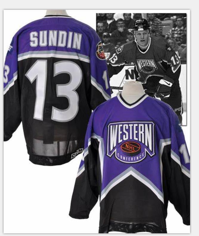 Donna-Uomo della gioventù Vintage # 13 Mats Sundin Toronto Maple Leafs 1996-1997 All Star Hockey Jersey di formato S-5XL o personalizzato qualsiasi nome o numero