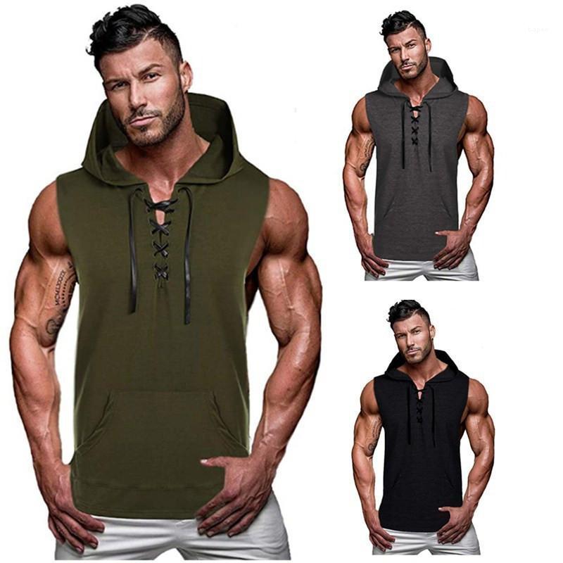 Designer Summer Tees Drawstring T Shirts Summer Hooded Mens Tshirts Solid Color Sleeveless Vest Casual Sport Streetwear Mens
