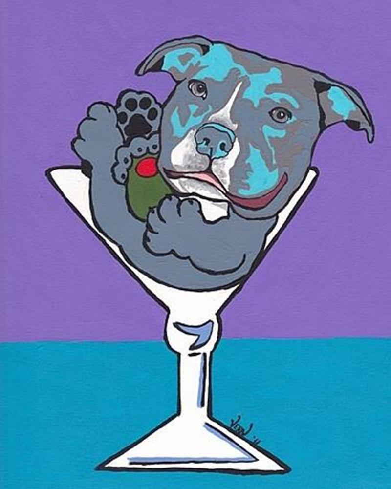 VERN Ev Dekorasyonu El Sanatlarını / HD Baskı Yağı Tuval Wall Art Canvas Pictures 200.715 tarihinde Boyama tarafından Boyama Mavi Pit Bull Martini Köpek Pop Art