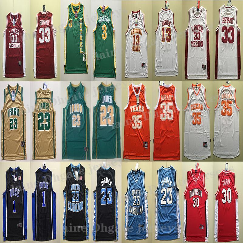 NCAA Basketball Jersey Versand schnell trocknen schnell College James 23 LeBron Allen Iverson 3 Kevin Durant 35 Basketball-Trikot