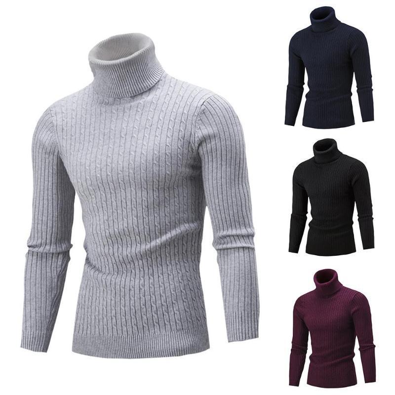 Gli uomini maglioni pullover solido di colore a maniche lunghe maglione dolcevita Pullover Slim Turtle Neck Sweater Mens Maglioni Maglieria