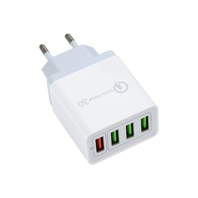 QC3.0 US-EU Großbritannien 4 Port 3.1A schnelles Aufladen Handy-Schnell-Ladegerät USB-Ladegerät-Stecker-Adapter für iPhone und Android