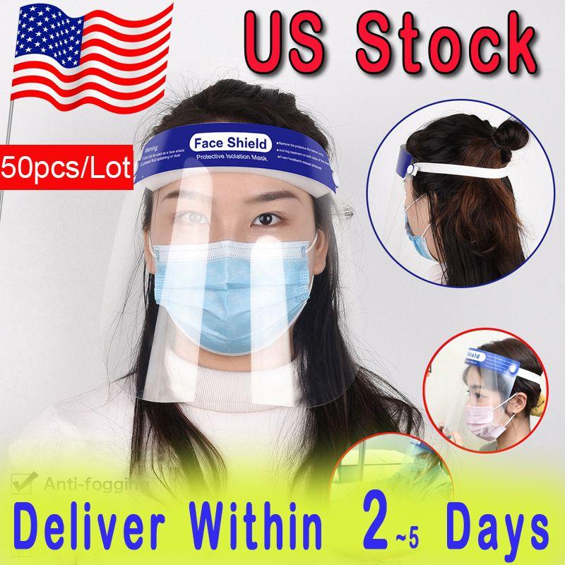 50pcs / protector protector de cara claro de la porción de la máscara anti-niebla para toda la cara Máscaras aislamiento transparente de protección del visor evitar salpicaduras Las gotas de PET