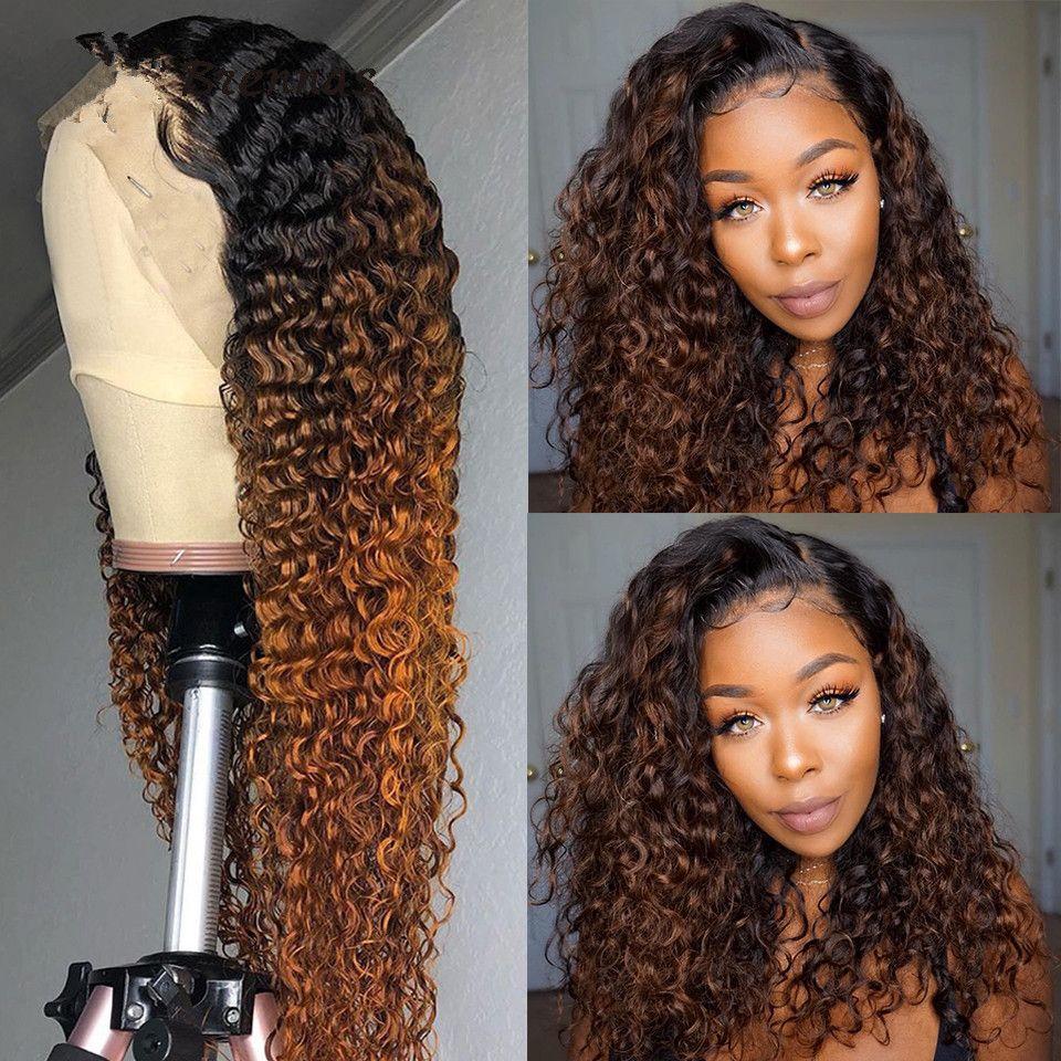 HD Ombre rizada del frente del cordón del pelo humano de las pelucas para las mujeres 1B / 30 de encaje de color marrón peluca brasileña del pelo de Remy 150% de densidad Pre desplumados