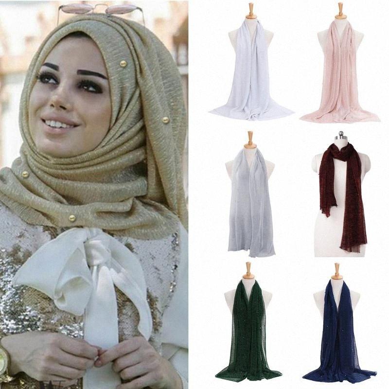 Mulheres Shimmer Hijab Faux pérolas com cercadura Crinkle Xaile muçulmana islâmica Turban Scarf AJj5 #