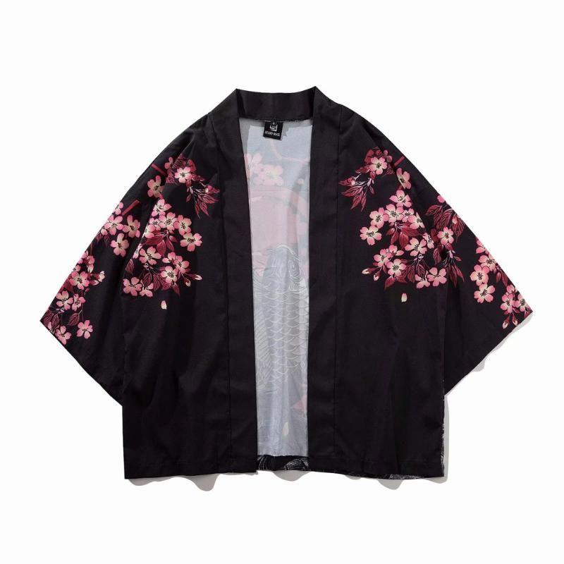 Mens Shirt Summer Japanese Five Point Sleeves Kimono Mens And Womens Cloak Jacke Top Blouse Streetwear camisas hombre