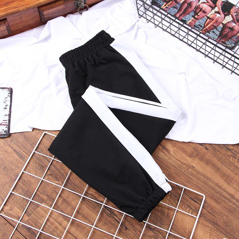 DONAMOL Plus Size outono Esporte calças cargo listra branca Pants Mulheres Cintura Oriente Streetwear legal da menina de Harajuku Hip Hop