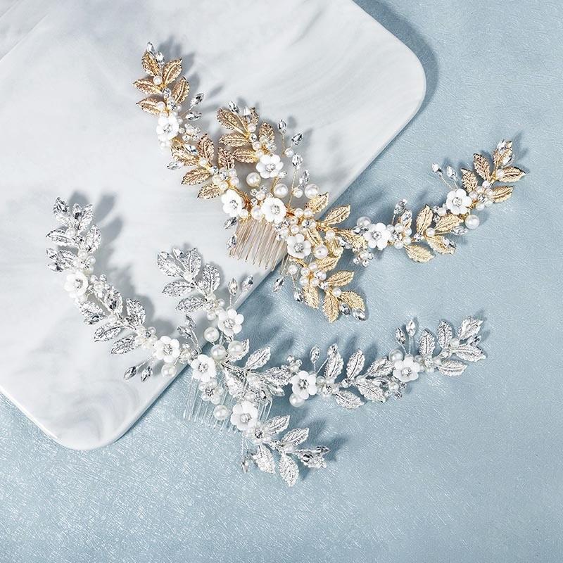 Gelin Düğün Headpeice El yapımı Kristal Metal Saç Tarak Kafa Çiçek İnci Saç Klip Kadınlar Saç Takı Aksesuar
