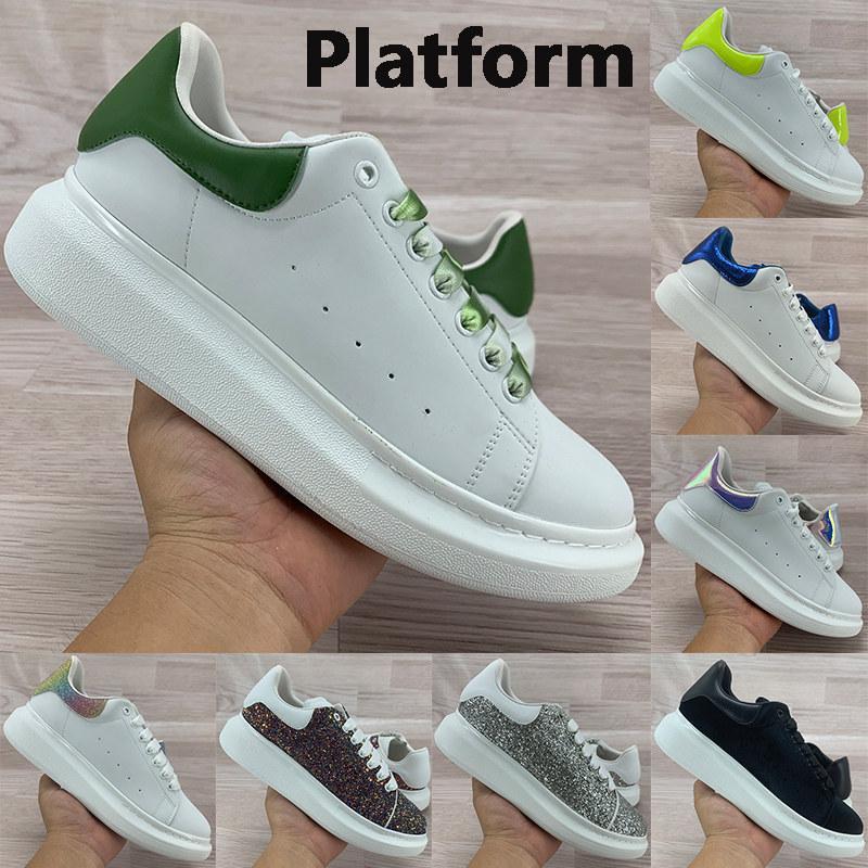 Meilleure plate-forme de qualité réfléchissants chaussures de sport blanc reflètent velours noir olive chaux argent supérieure hommes en cuir véritable sequin femmes Sneakers