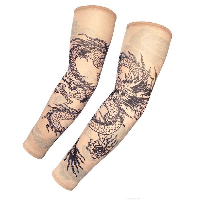 Um Par De Tattoo mangas Outdoor Pesca Anti-Ultravioleta respirável e Sweat-absorvente Tattoo mangas Unisex