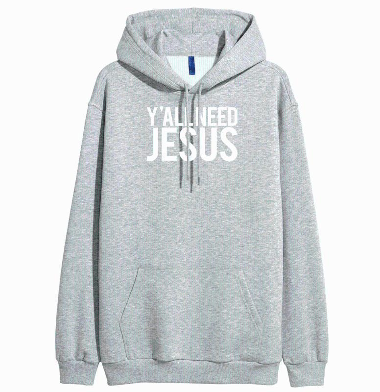 Hepiniz İsa baskı kadınları uzun kollu eşofman 2020 moda hip-hop tarzı kazak polar kazak harajuku gri eşofmanı ihtiyaç