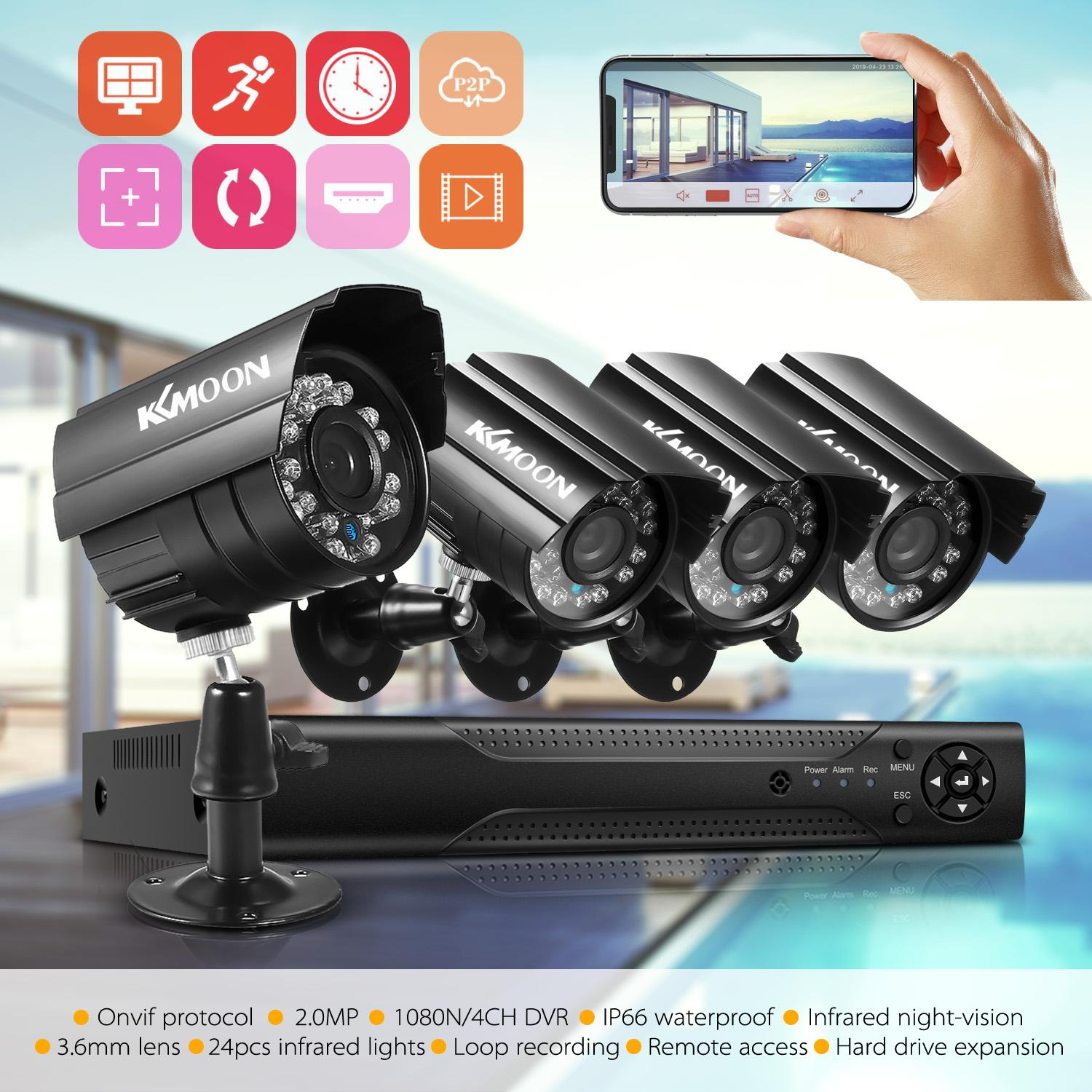 4CH Camera System Full 1080P Video DVR Recorder with 4 * 1080P Indoor Outdoor Weatherproof CCTV Cameras