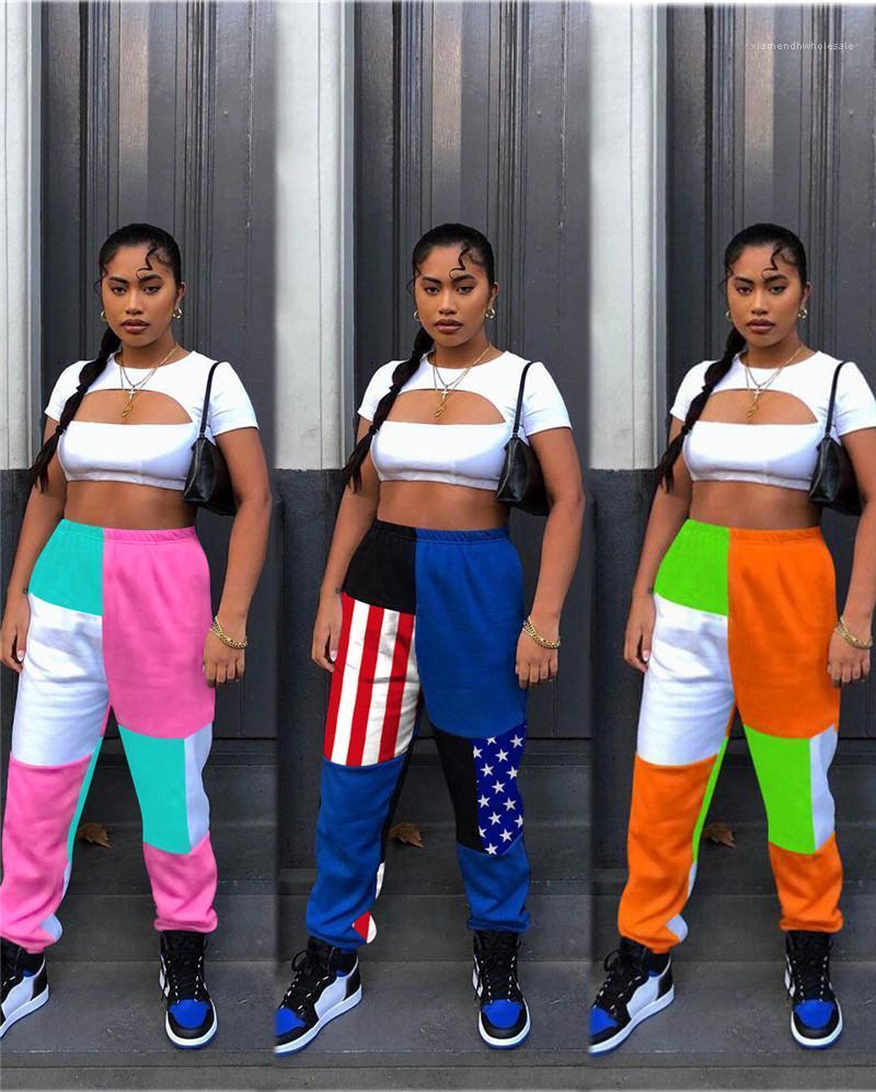 Trajes de estilo deportes de cuello redondo ahueca hacia fuera las tapas de contraste de color Pantalones Mujeres conjuntos de dos piezas pantalones del verano Conjunto femenino del diseñador de moda