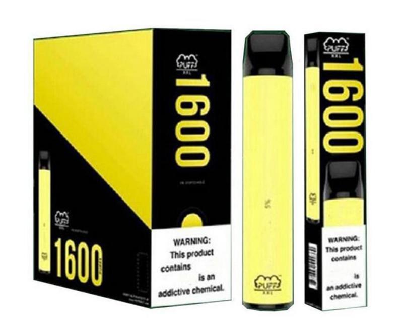 слоеное Одноразовые Vape XXL устройство 1600 puffbar одноразовые Предварительно заполненные 4мл Vape ручка Puff Glow биди палочка электронные сигареты Одноразовая против Ezzy супер