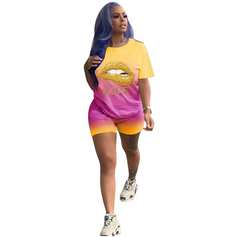 Delle donne sexy 2 pezzi Sport Outfit Tuta Set Gradiente Lip Stampa T Shirt Bodycon pantaloni jogging Clubwear sportivo Set
