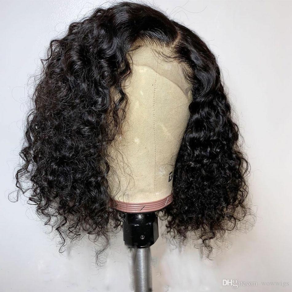 Kıvırcık Dantel Açık Peruk Brezilyalı Kısa Peruk İnsan Saç Peruk İçin Siyah Kadın% 130% 150 Remy bebek saç ağartılmış preplucked knot