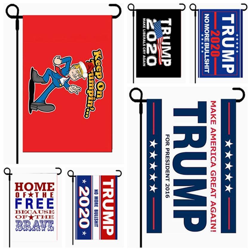 30 * 45CM ترامب العلم 2020 الرئيس Amercia حملة راية PLOYESTER حديقة دونالد أعلام ديكور راية حرية الملاحة HHA1462