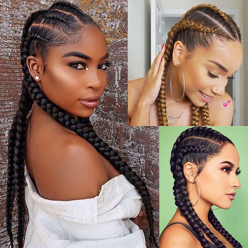 Parrucche anteriori in pizzo Dilys Parrucche intrecciate per le donne nere Sintetiche Cornrow Treghetti Parrucche di pizzo con scatola per capelli per capelli Treids Parrucca da 28 pollici