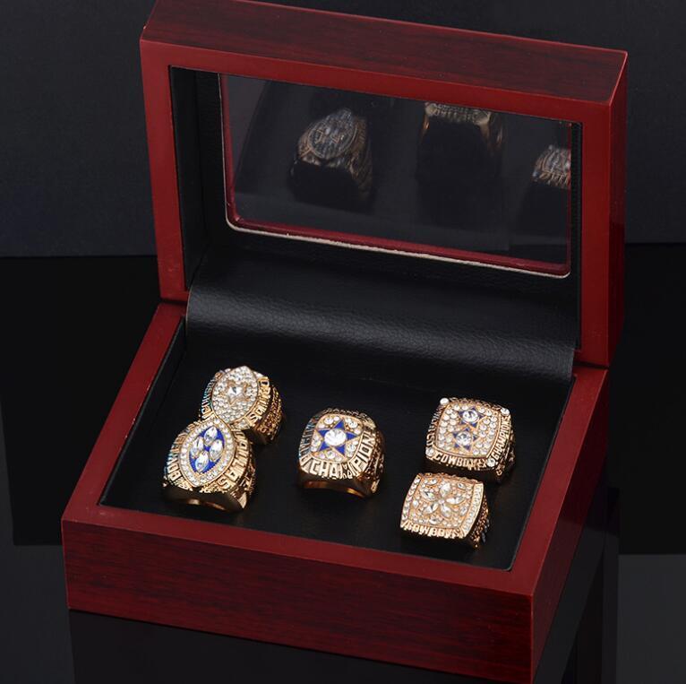 الجملة الجميلة عالية الجودة مجموعة عطلة سوبر السلطانية رعاة البقر 1995 جائزة الدائري للرجال خاتم مجموعة مجوهرات 5piece / الكثير