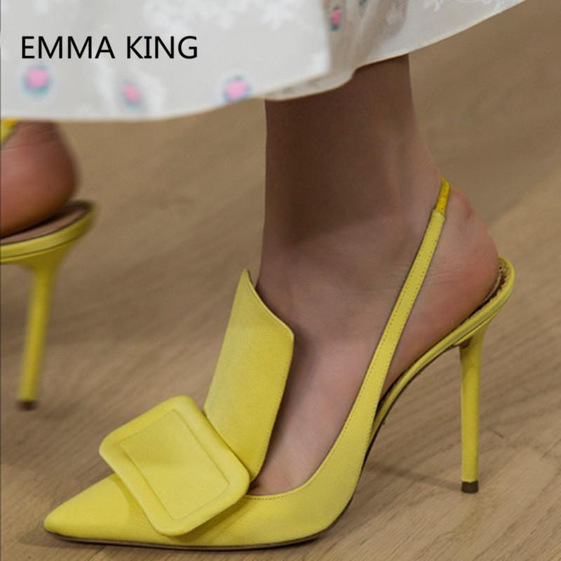 2020 Marka Tasarım Sarı İnce Topuk Kadın Sivri Burun ofisi Bayan elbise Striptizci ayakkabı Kadınlar geri Kayışı Büyük Boyut Yüksek Topuklar pompaları