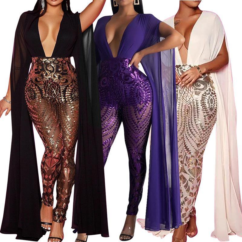 2020 europei e americani tuta moda casual Sexy scollo a V pagliaccetti lustrini lungo tuta