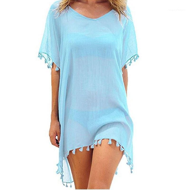 Nouveau style femmes plage Glands maillot de bain couvrante Maillots de bain été paréo Tampa Mini vrac solide Robe ample UPS1