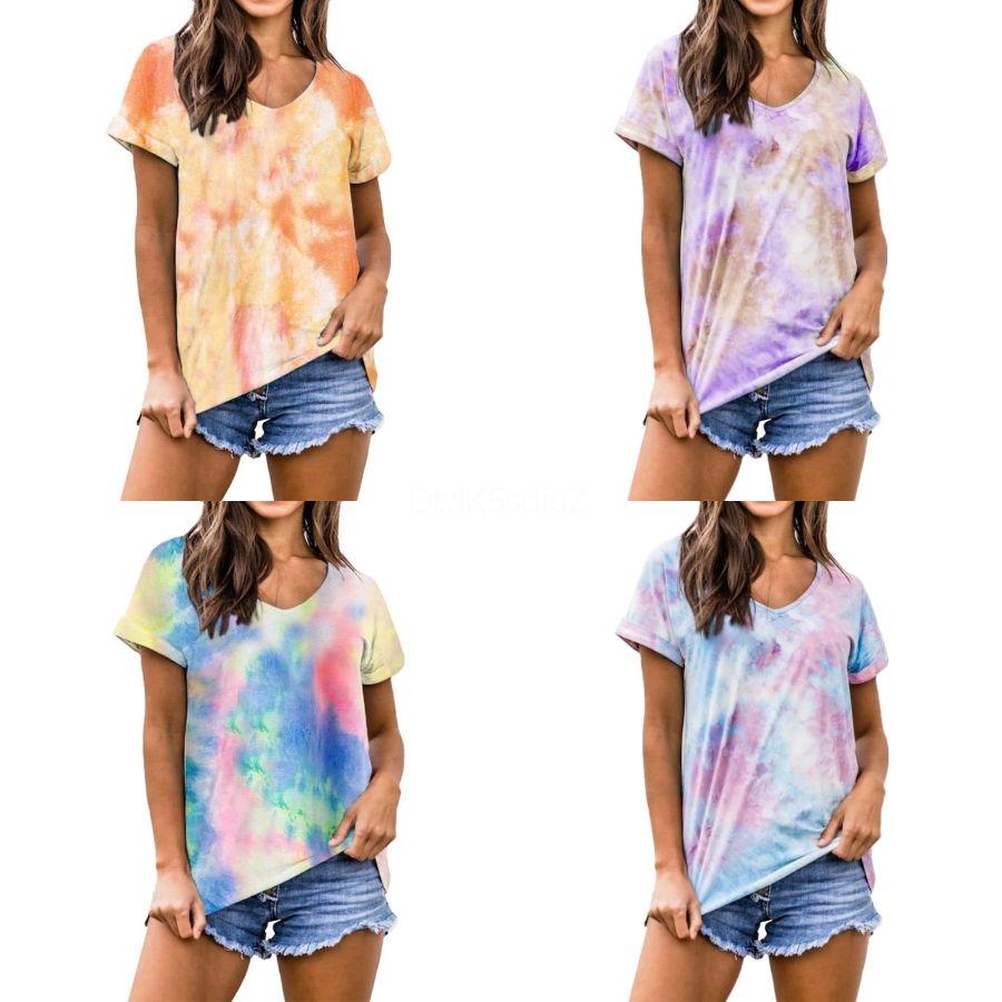 Plus Size S-5XL femmes ras du cou T-shirt d'été 2020 de couleur contrastée à manches courtes en vrac T-Shirt Casual Tops Livraison gratuite # 646