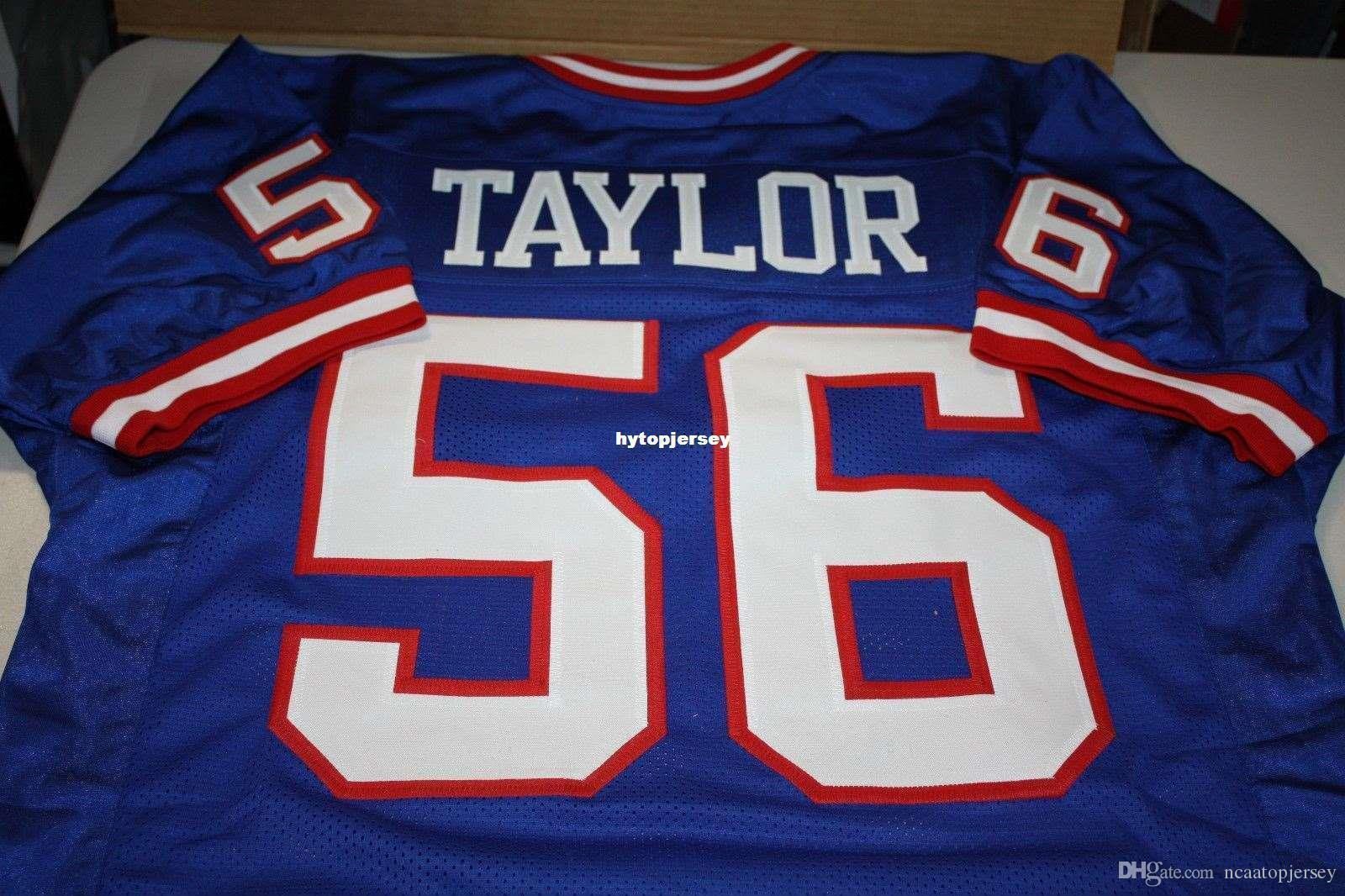Pas cher Retro # 56 LAWRENCE TAYLOR CUSTOM MITCHELL NESS Jersey HOF 1999 Stitching Maillots de football masculin College Top