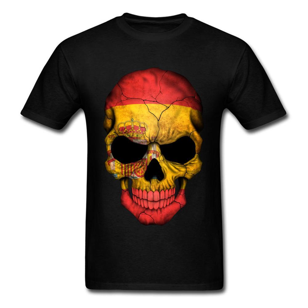 XXXL 2020 Men T-shirts Spanish Flag Skull Print Cool Family Halloween Customized Clothing Short Sleeve Tops & Tees