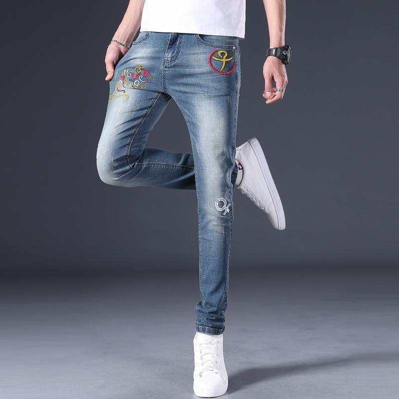 DQBOL ZODIACIAC TRATION ENTIGE STREET DETRED Slim Fit Jeans Stil und Männer Jeans bestickte chinesische Männerstickerei