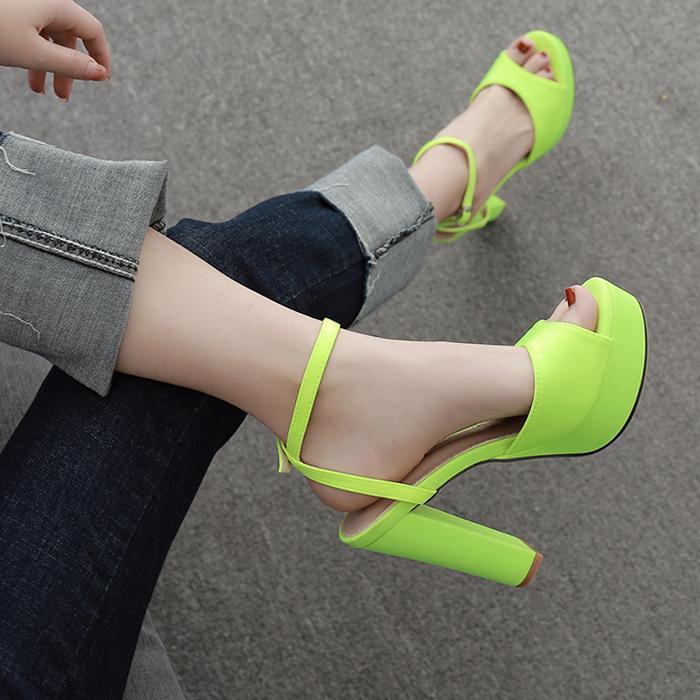 Женщины Peep ног Зеленый цвет Коренастый пятки сандалии высокая Блочные Туфли-Solid Suede Shoes