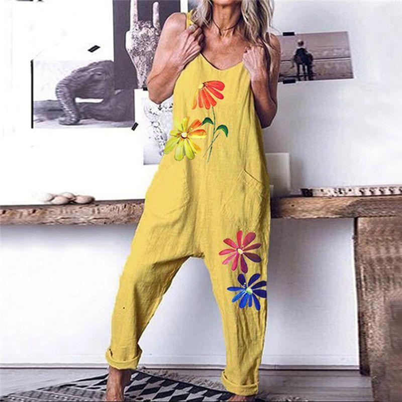 2020 Backless donne tuta estate femminile stampato Fiore Vintage maniche Bib complesso stampa floreale Tuta Tuta M-3XL