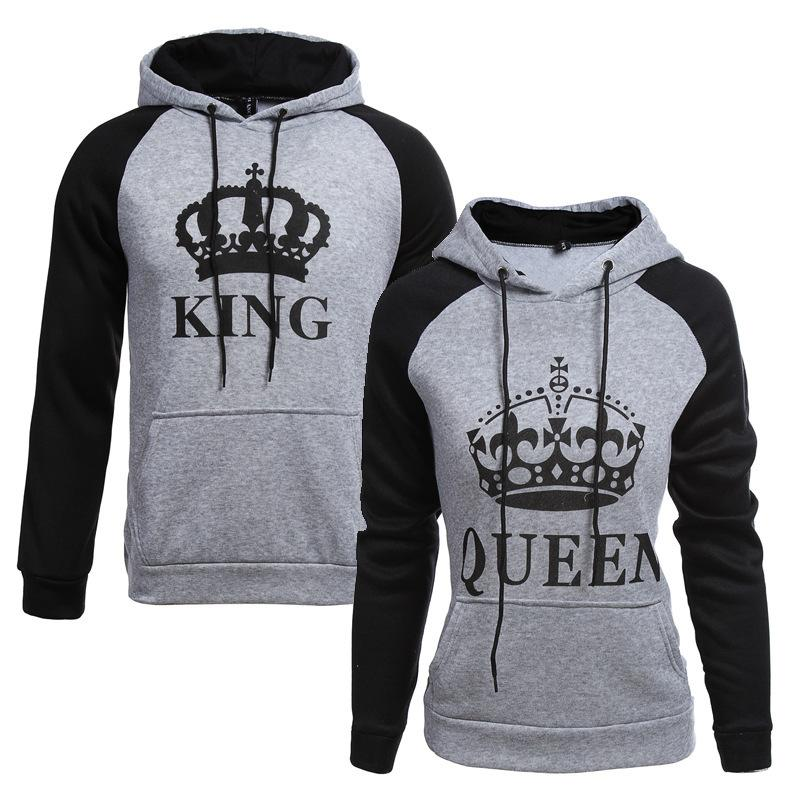 KING Queen Crown Print Unisex Men Women Autumn Hoodies Slim Sweatshirt for Couple Lovers Winter Patchwork Hooded Pullovers T200714