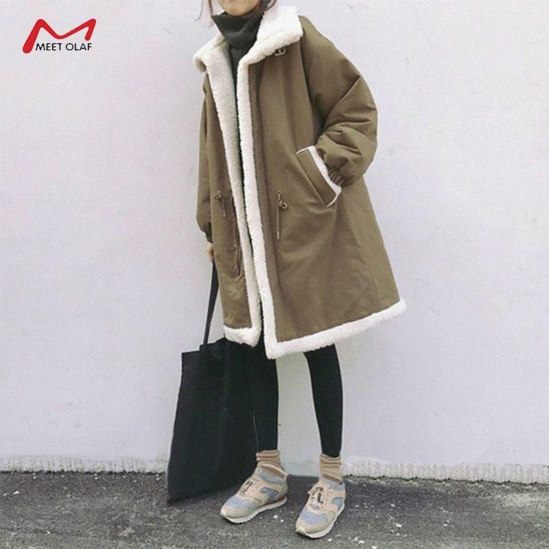 Neue Winter-Frauen mittlere Länge Parkas Pelzfutter warme Baumwollmäntel weiblicher loser Fleece Lamb Liner Mantel Outwear Plus Size CA6643 FQz4 #