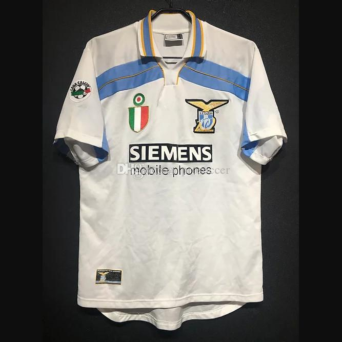 Retro Lazio 1998/00 Jerseys de futebol Nesta Nedved Vieri Salas Mancini Mihajlovic Simeone Inzaghi Veron Crespo Vintage Kit Camisa Clássica