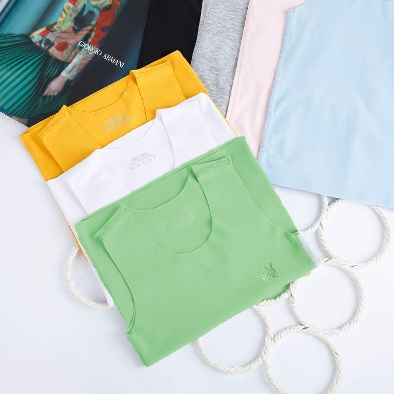 WvZdJ verano ronda estiramiento de cuello de algodón básica modier vestcolor sólido 20 de los niños del chaleco pequeñas y medianas niños sin costura deportes manga