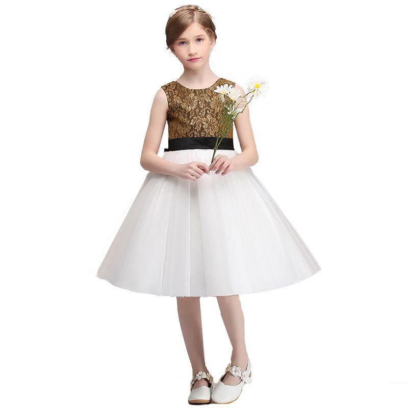 Lovey Elegant Lace Princess Flower Girl Dresses 2020 Ball Gown First Communion Dresses For Girls Sleeveless Tulle Toddler Pageant Dresses
