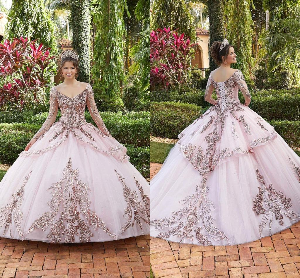 Rosa fuori dalla spalla principessa Puffy Sweet 16 Quinceanera 2021 scollo a V a maniche lunghe in pizzo Tiered sera convenzionale Prom Gowns AL6773